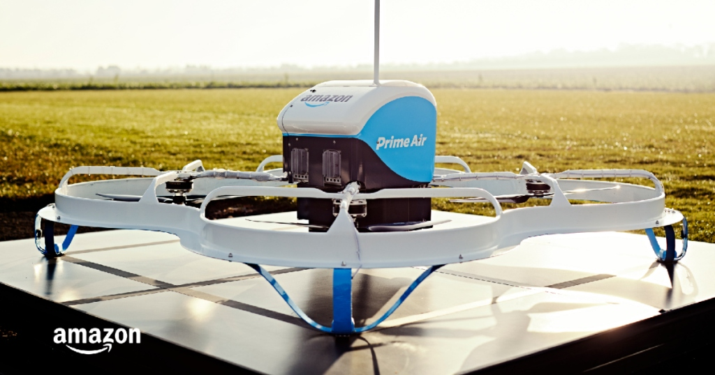 Amazon Prime Air drone sitting on launch pad
