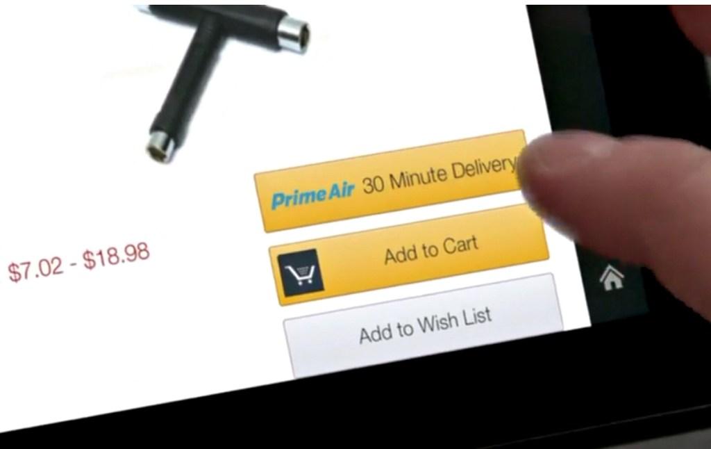 person using Prime Air shopping cart