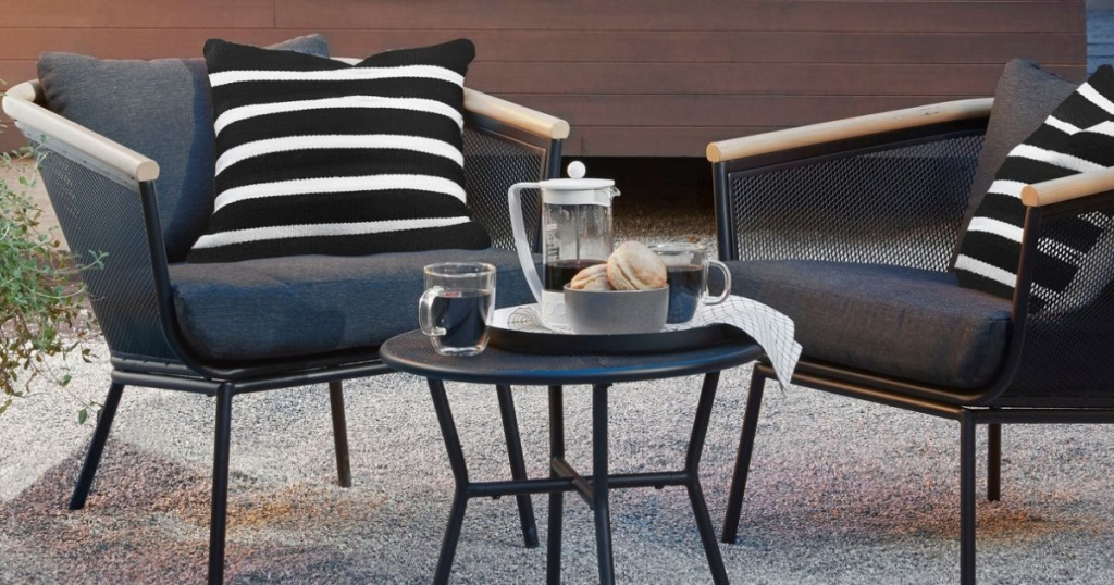 Project 62 Bangor 3pc Metal Mesh & Faux Wood Patio Chat Set