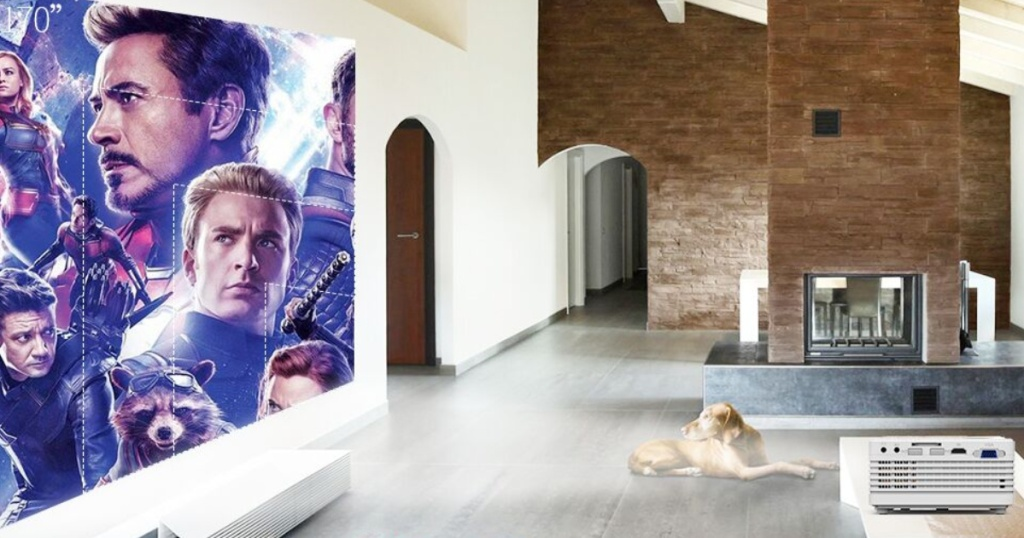 qkk mini projector with avengers in living room with yellow lab