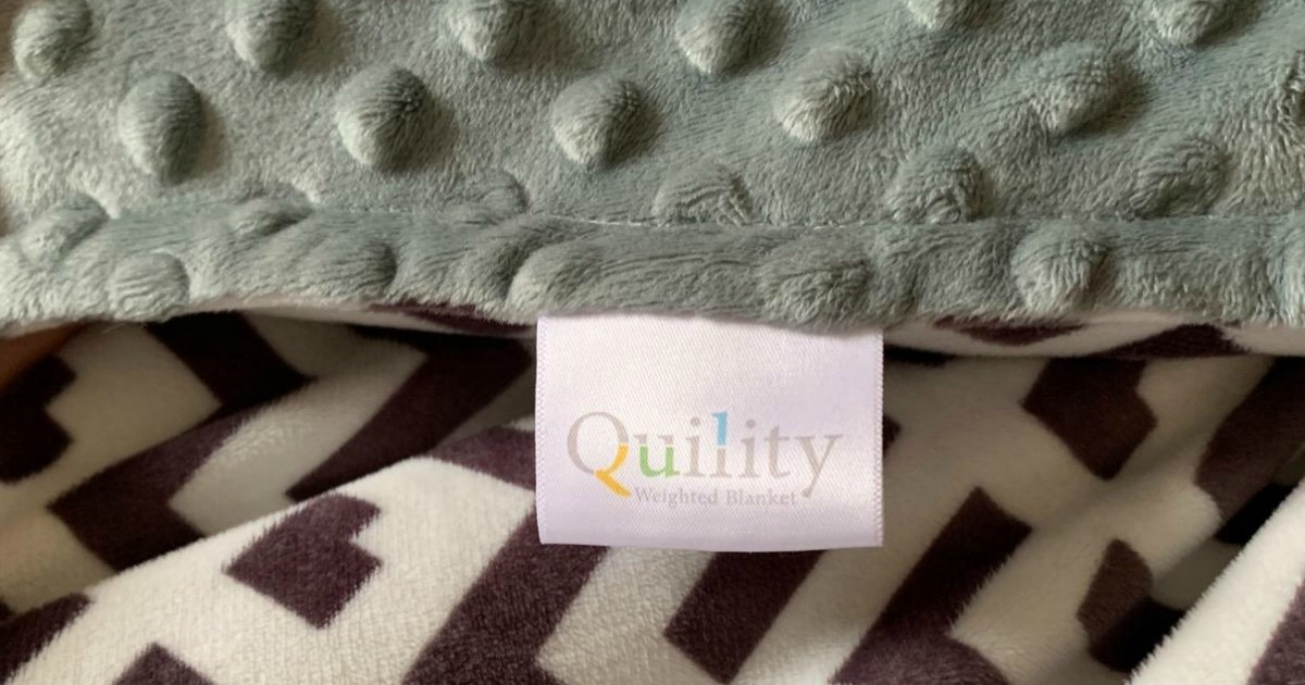 Grey Cotton, Aqua Minky Cover weighted blanket