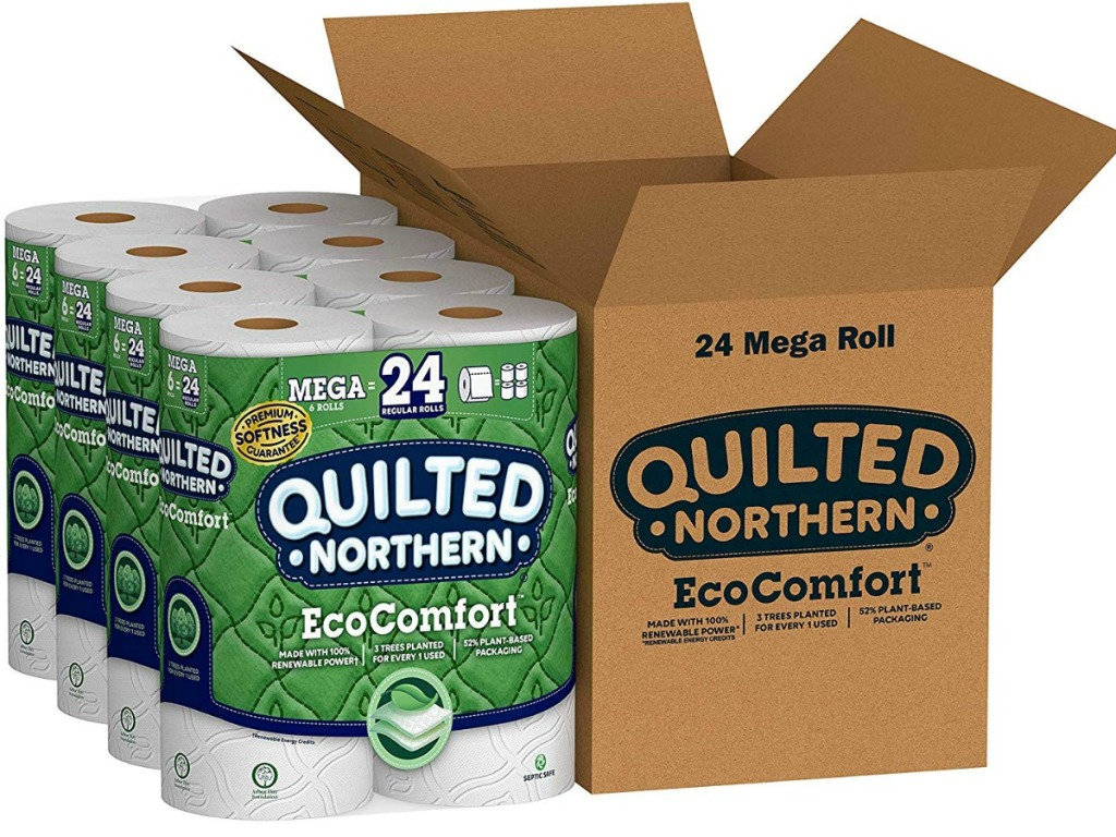 Quilted Northern Toilet Paper next to a box