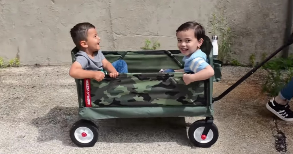 kids riding in Radio Flyer wagon