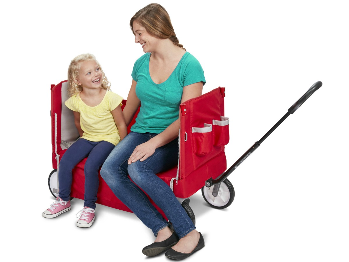 Radio Flyer Wagon, converted to a bench, with Mother and Daughter sitting on it.