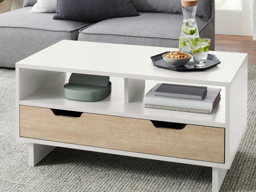 Midcentury style Reagan coffee table with white veneer
