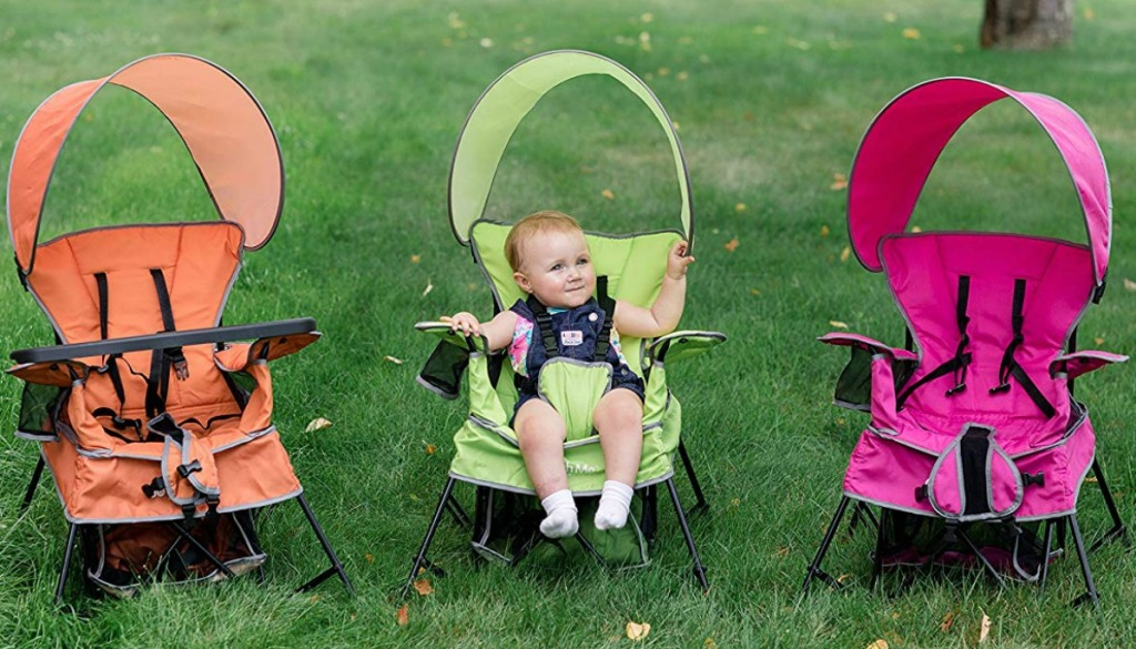 Three Portable Chairs outside in the grass