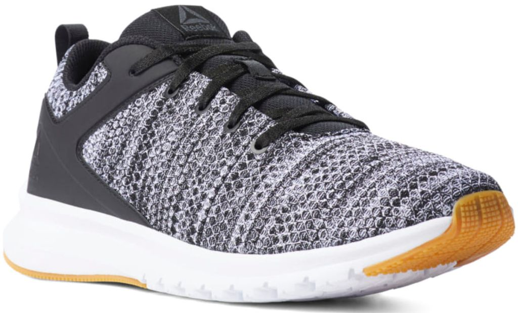 Reebok Print Lux Shoes Men's Running Shoe in black, white, and grey with gum bottoms