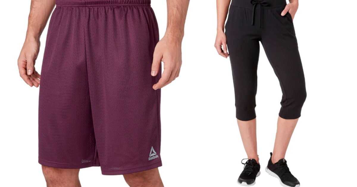 man wearing Reebok shorts and woman in Reebok capris