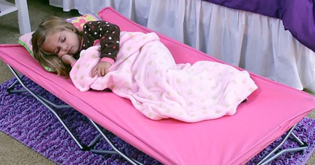 regalo pink toddler portable cot