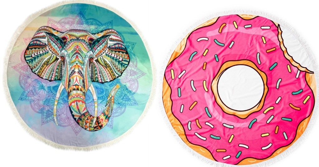 Round Beach Towels with elephant and donut