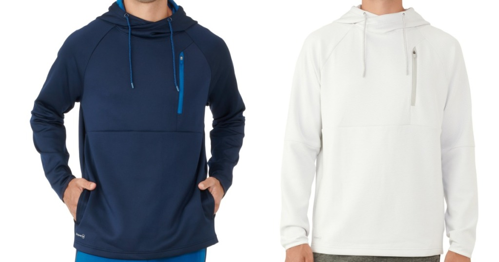 two men each modeling - one a blue hoodie and the other a white hoodie