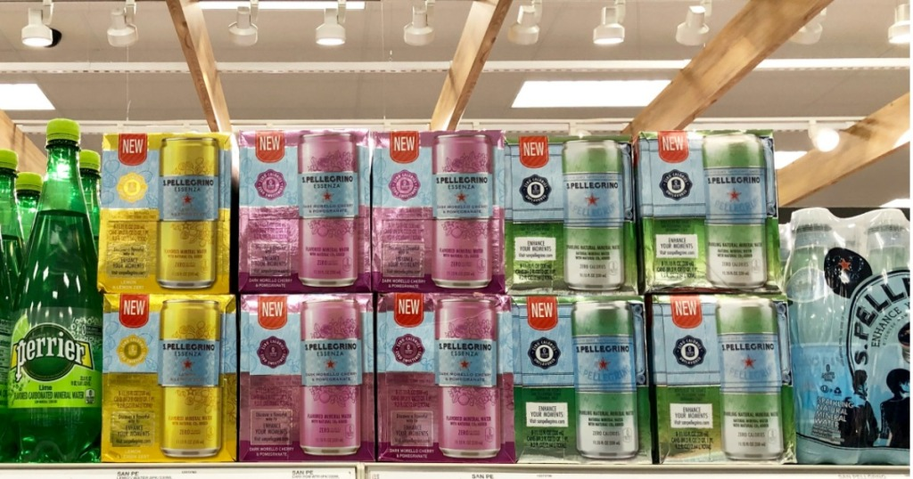 8-packs of s. pellegrino on store shelf