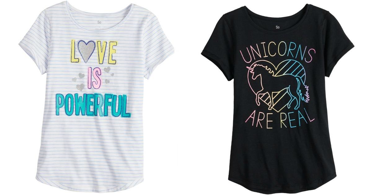 white striped t-shirt and black unicorns t-shirt