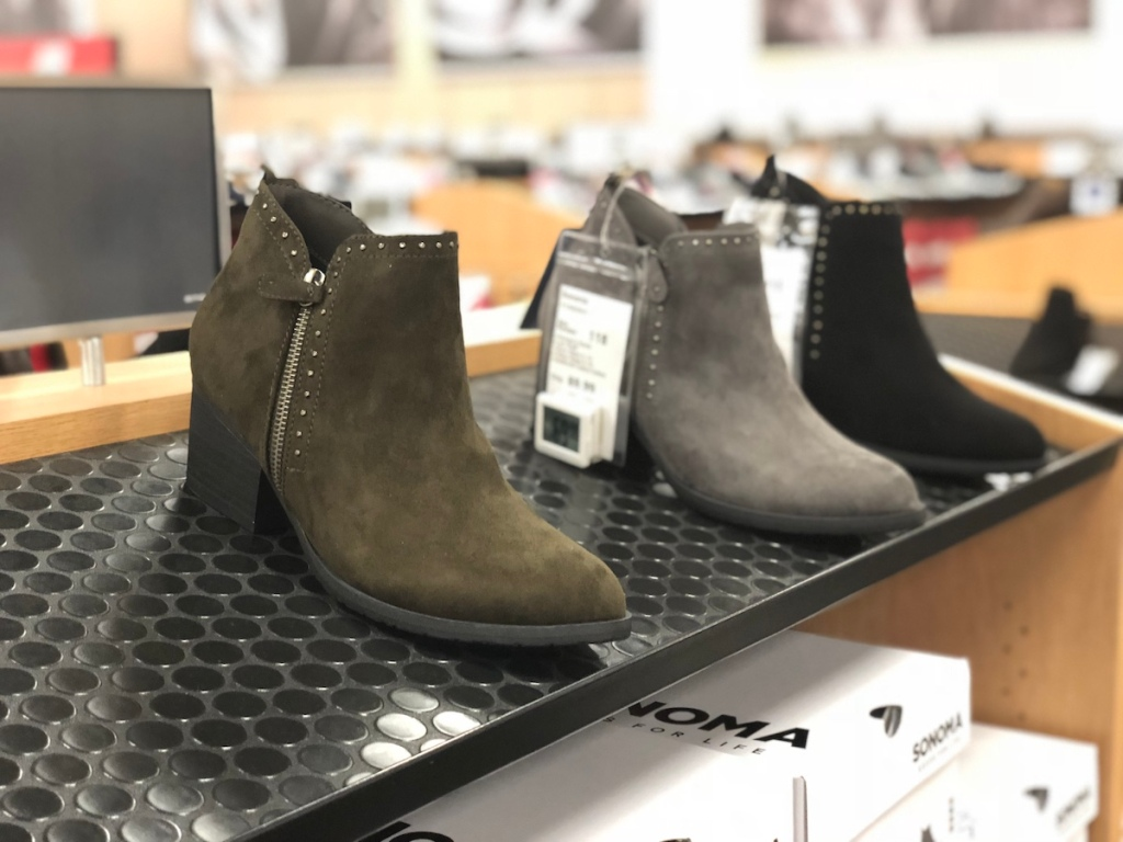 women's boots sitting on a shelf