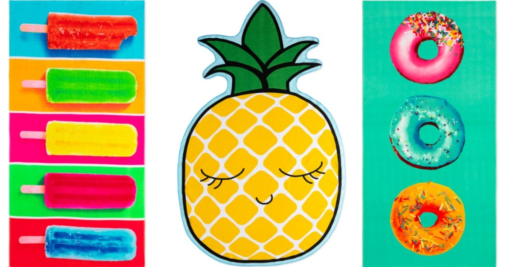 fun summer beach towels with pineapples, popsicles and donuts