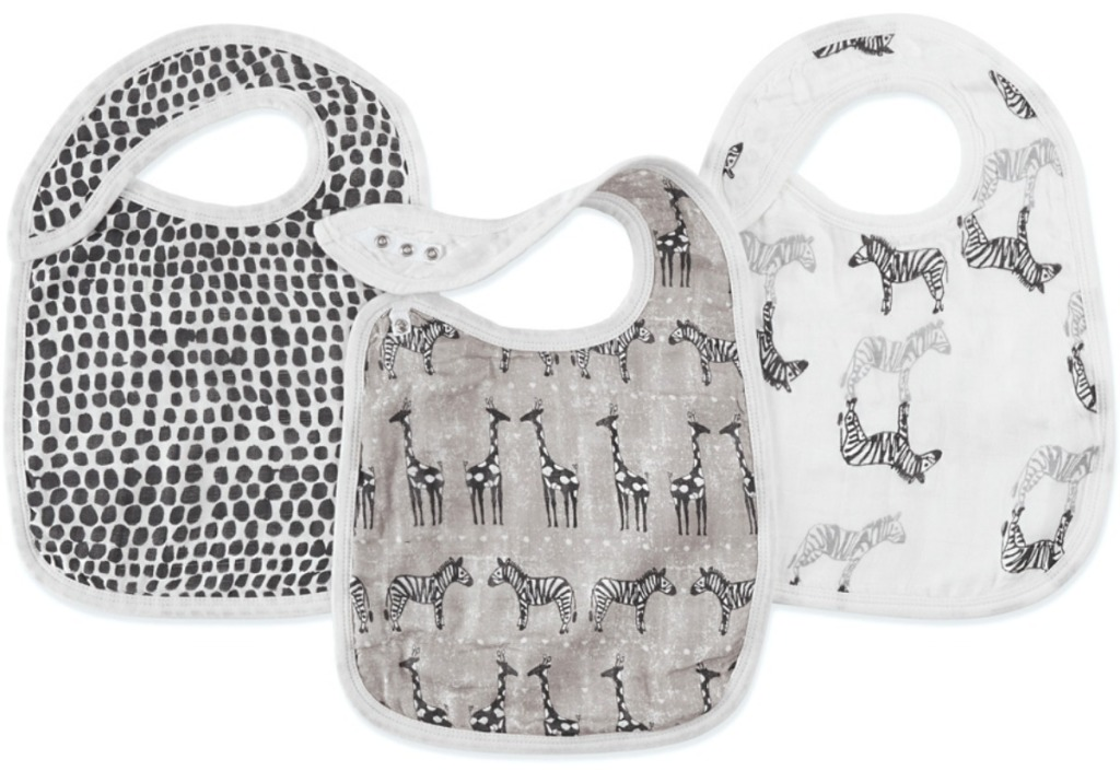 polka dot and animal bibs