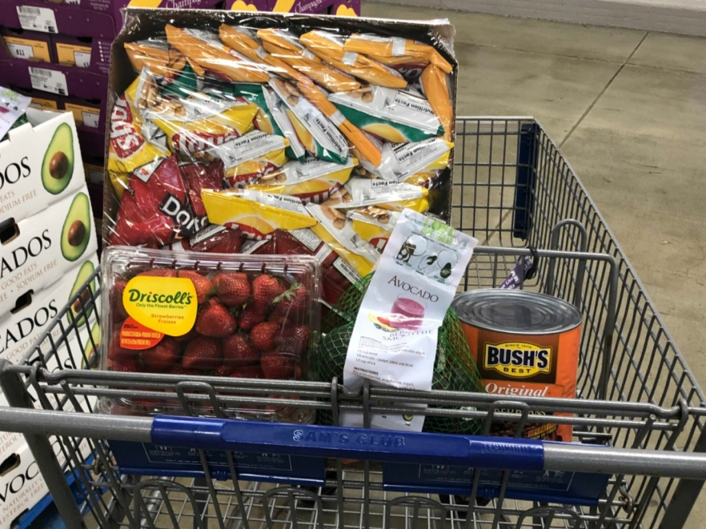 Frito-Lay chips, strawberries and more in a Sams Club cart