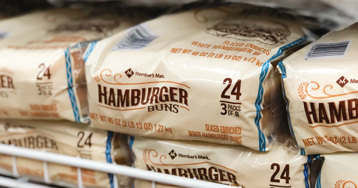 packages of member's mark hamburger buns on a store shelf