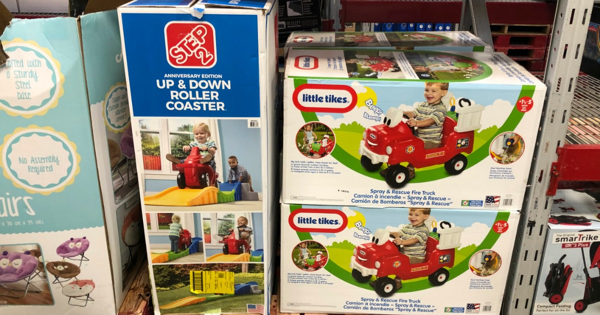 Step2 and Little Tikes Toys in boxes at Sam's Club store