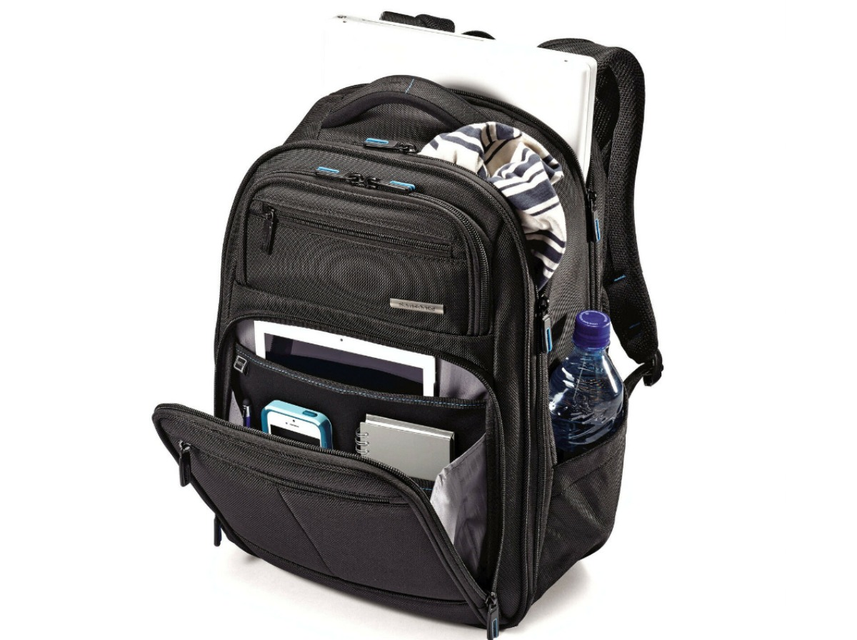 black Samsonite Novex Perfect Fit Laptop Backpack with tablet, notebook, cell phone, water bottle, laptop and clothing