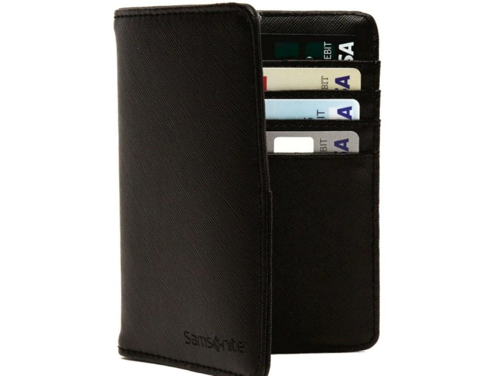 black Samsonite RFID Passport Wallet with credit cards