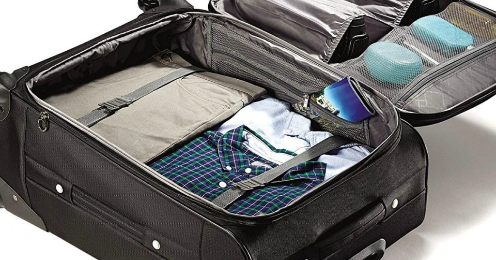 Samsonite Black suitcase with luggage in it!