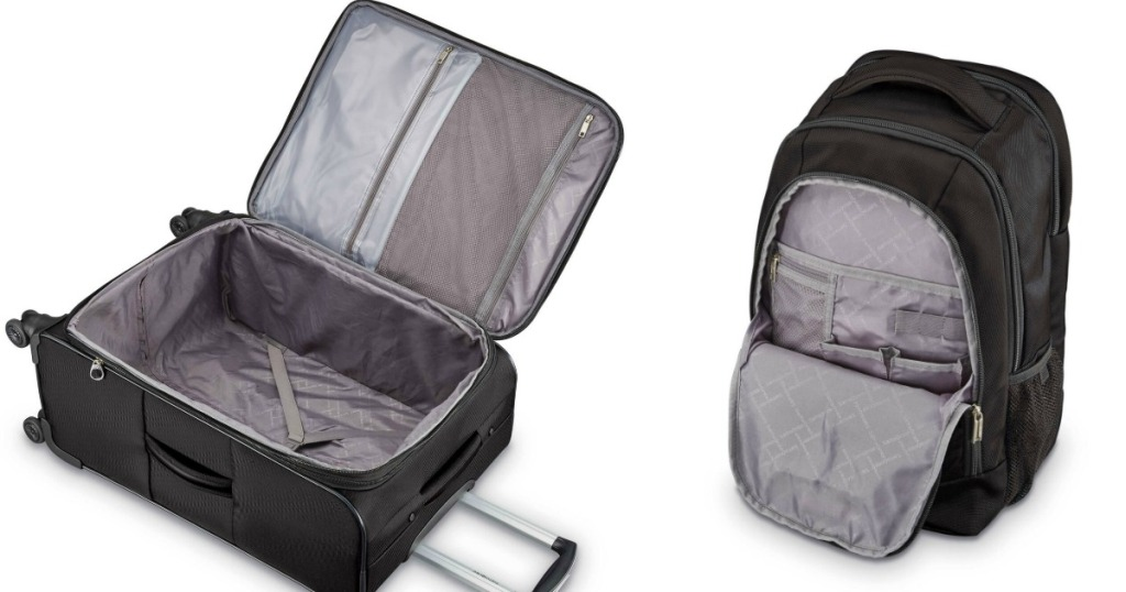 Samsonite suitcase that is opened up and a backpack