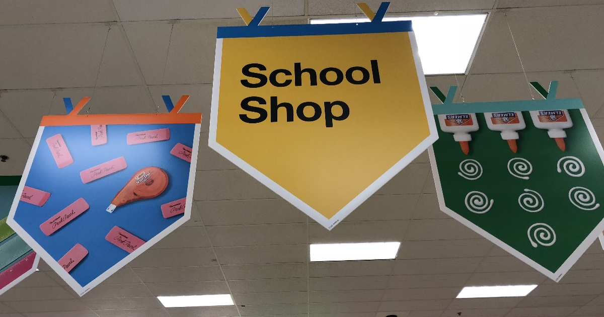 School shopping signs at target