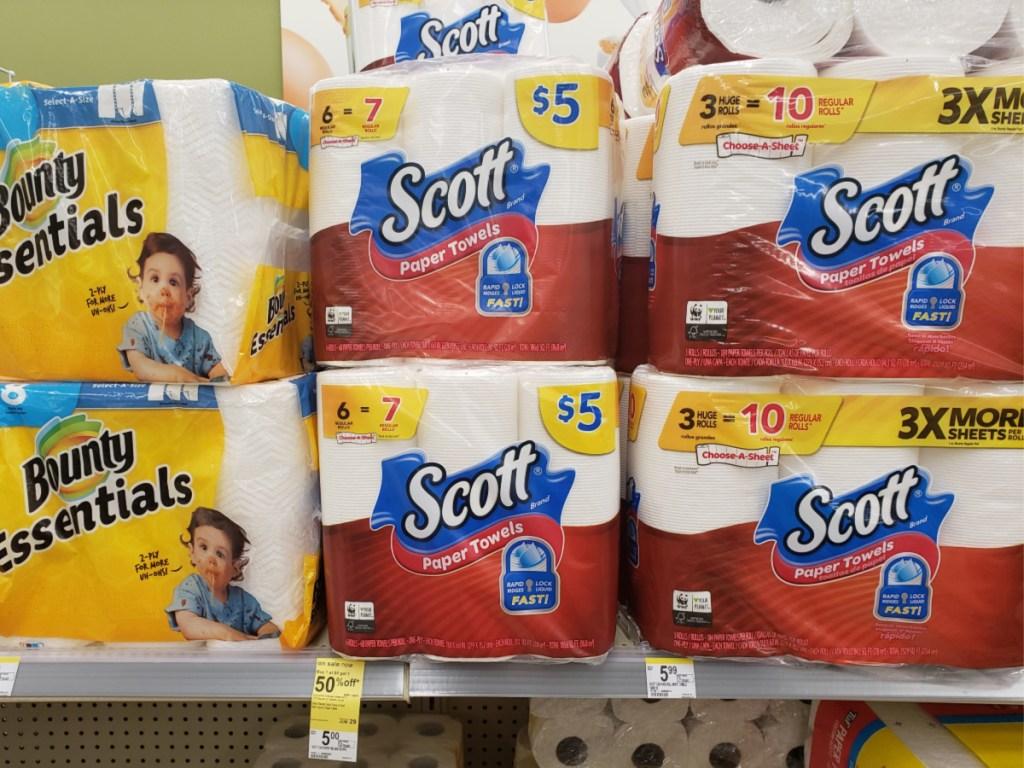 shelf of scott and bounty paper towels in walgreens