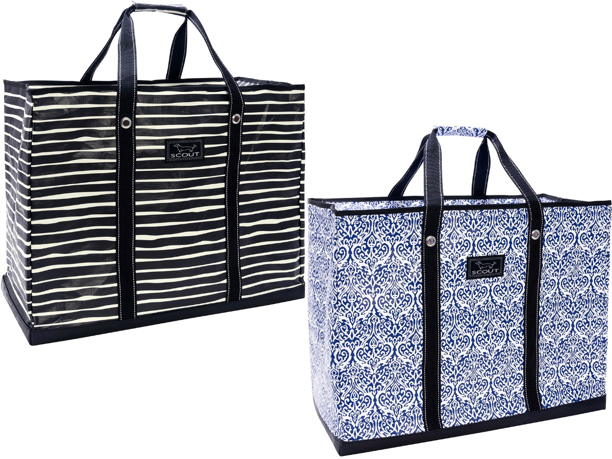 black and white striped and blue patterned tote