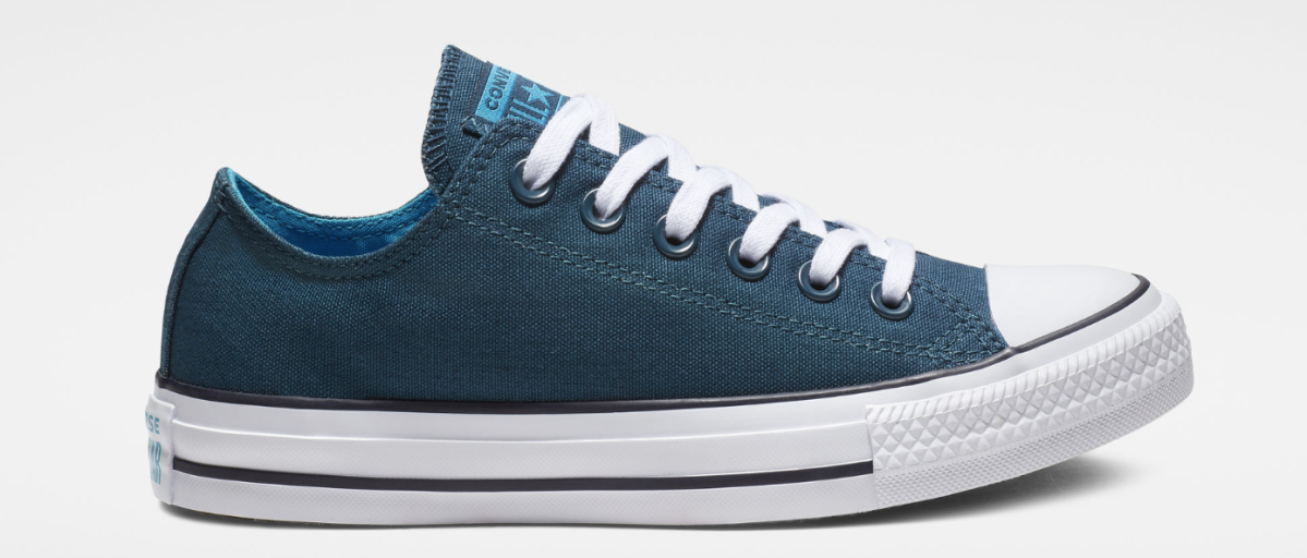 picture of teal Converse shoes with a grey backround