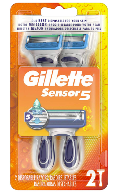 a 2-pack of Gillette disposable razors