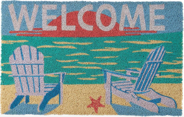 beach scene Welcome door mat