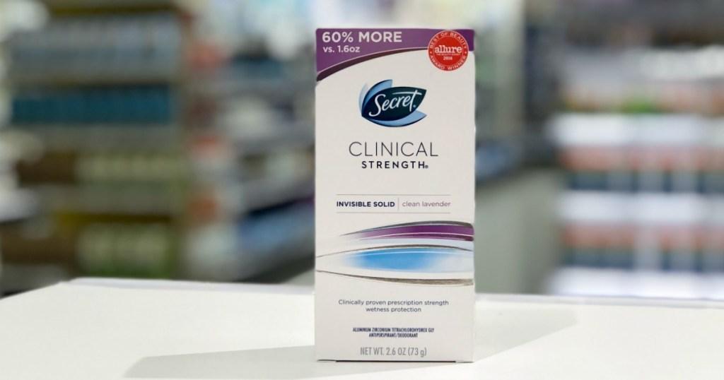 Secret clinical strength antiperspirant sitting on a shelf