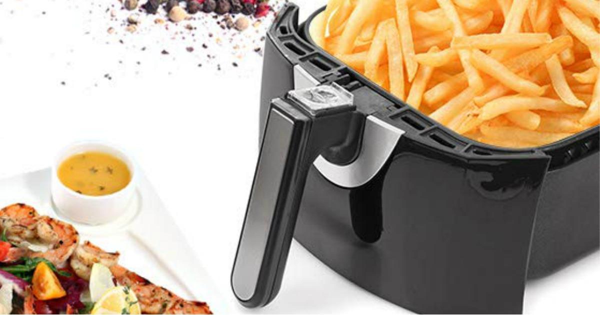 Secure air Fryer basket full of fries