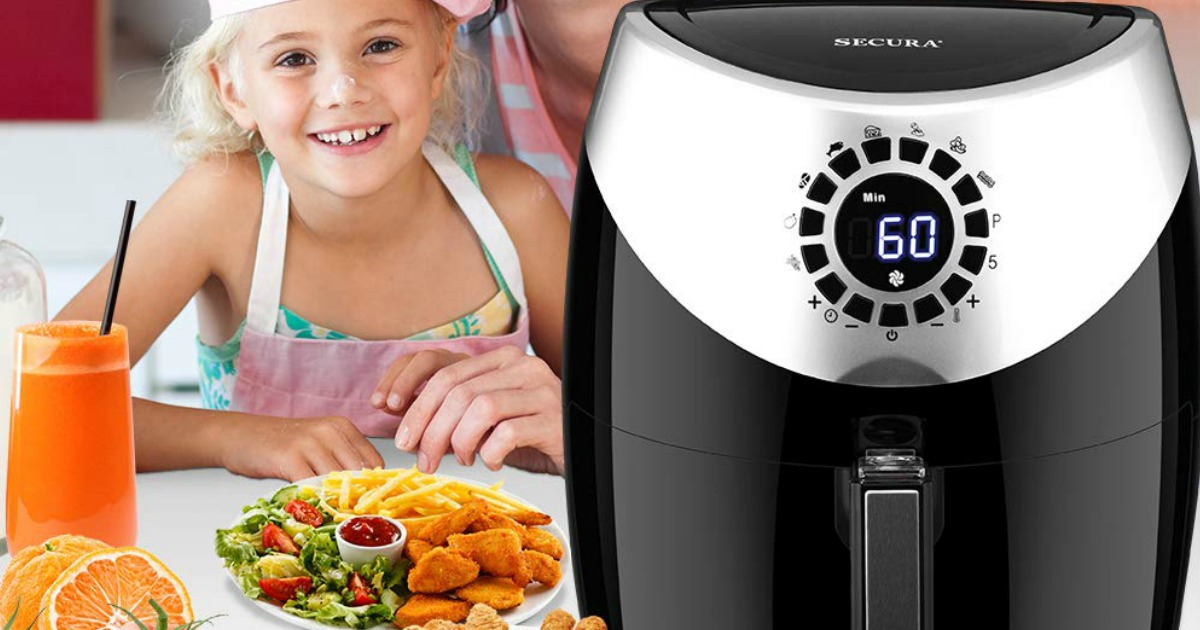 secura air fryer with little girl eating fried foods beside it