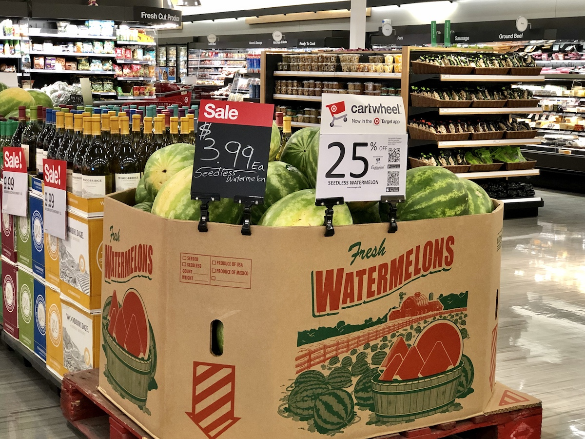 watermelons in produce department at Target