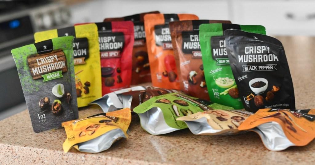 lots of different flavors of shiitake mushroom snack packs