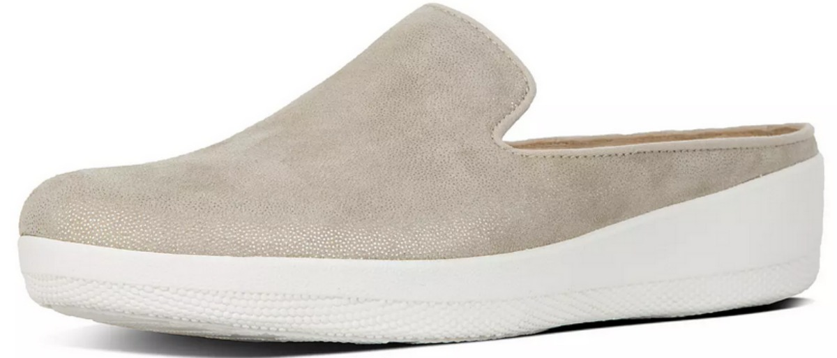 tan suede mule with white sole