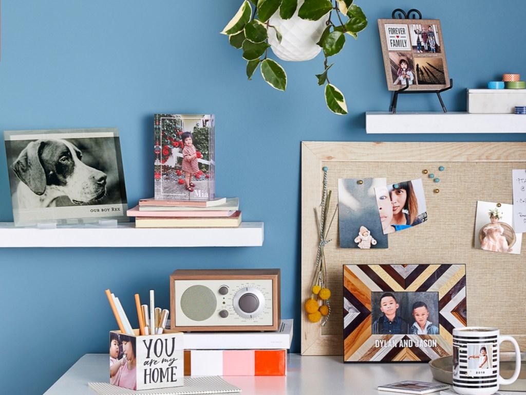 dek with cork board, pencils, pant, and Rectangle Desktop Plaque