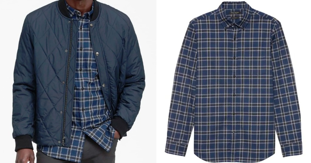 plaid button up shirt with man wearing jacket