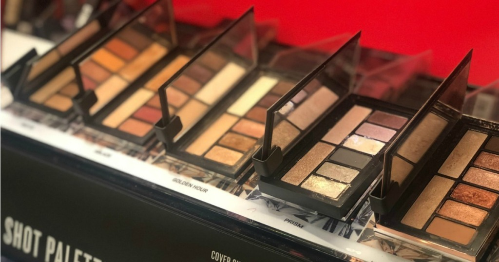 smashbox palettes on shelves in a store