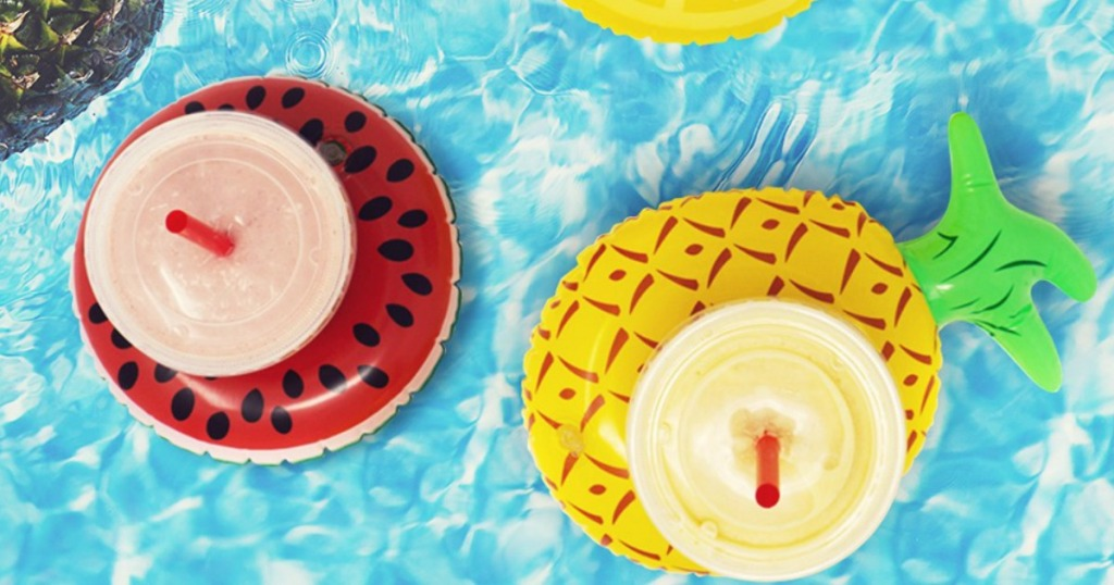 smoothies on coasters floating in pool