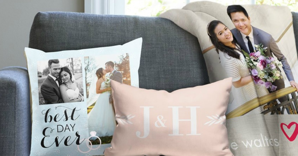 Snapfish photo blanket with personalized pillows on couch