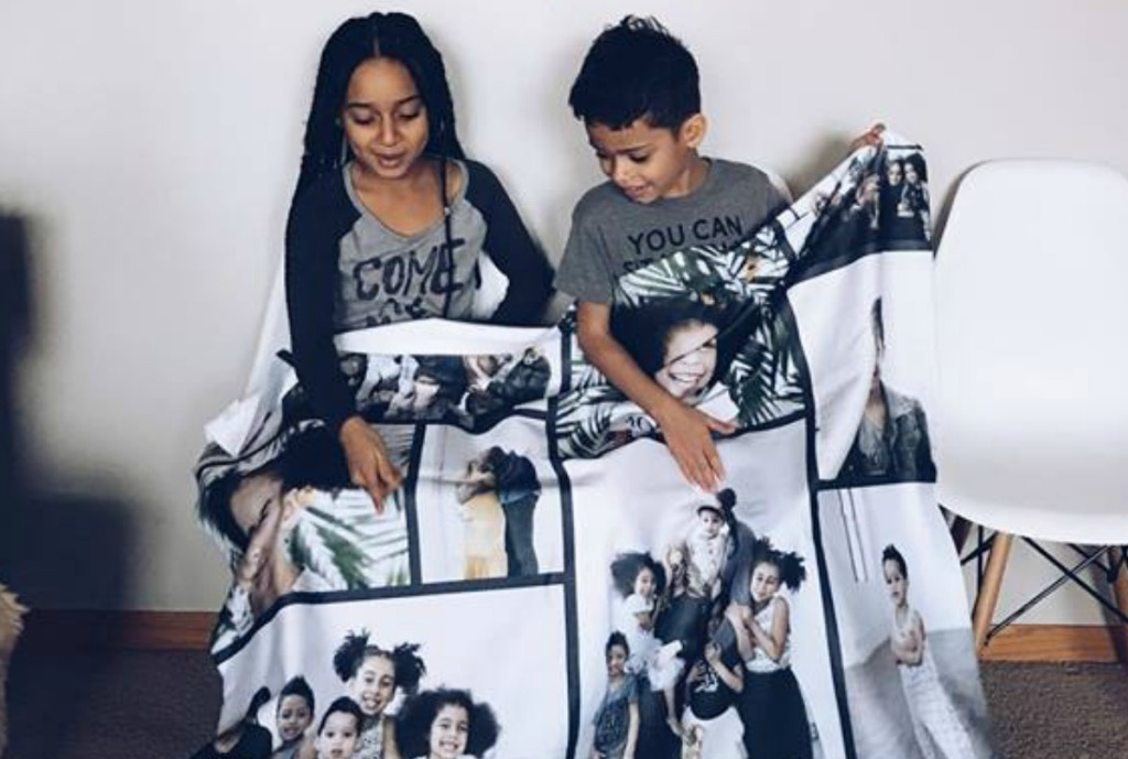 boy and girl sharing personalized photo blanket