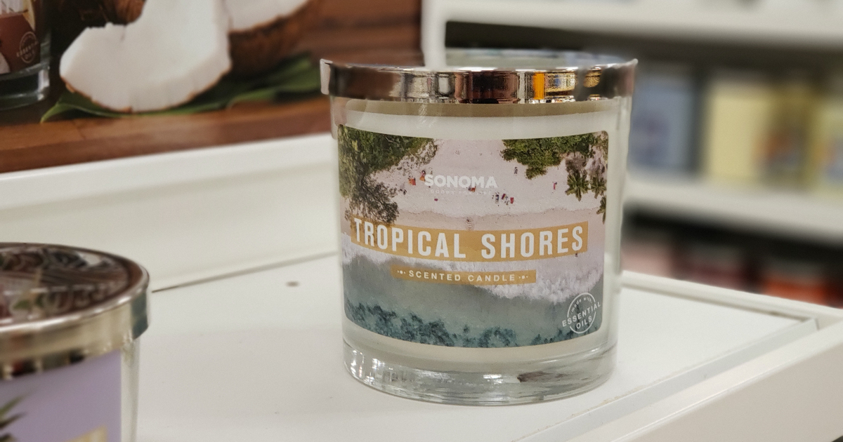 Sonoma 3 wick candle Tropical Shores scent