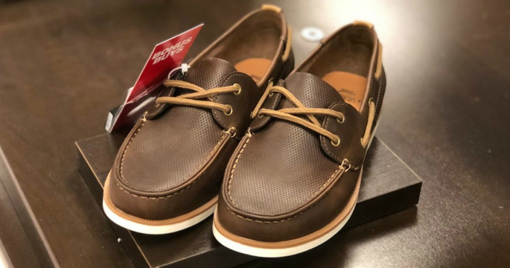 Sonoma Men's Boat Shoes sitting on a brown table