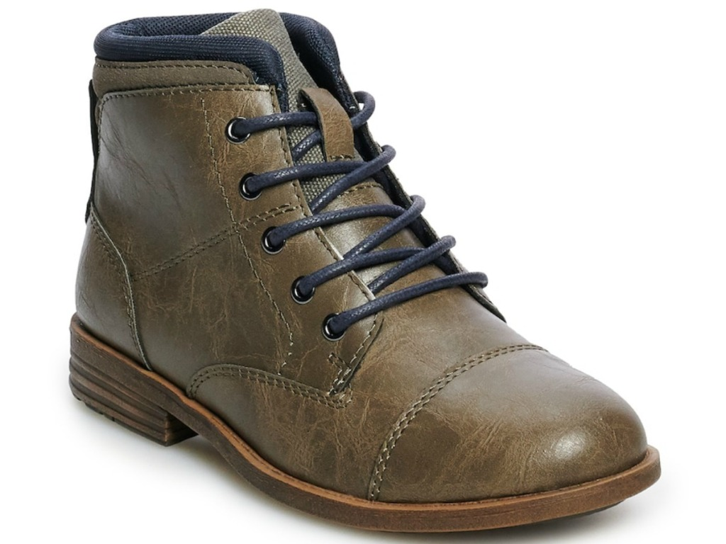 boy's brown sonoma boos with black cuffs and laces