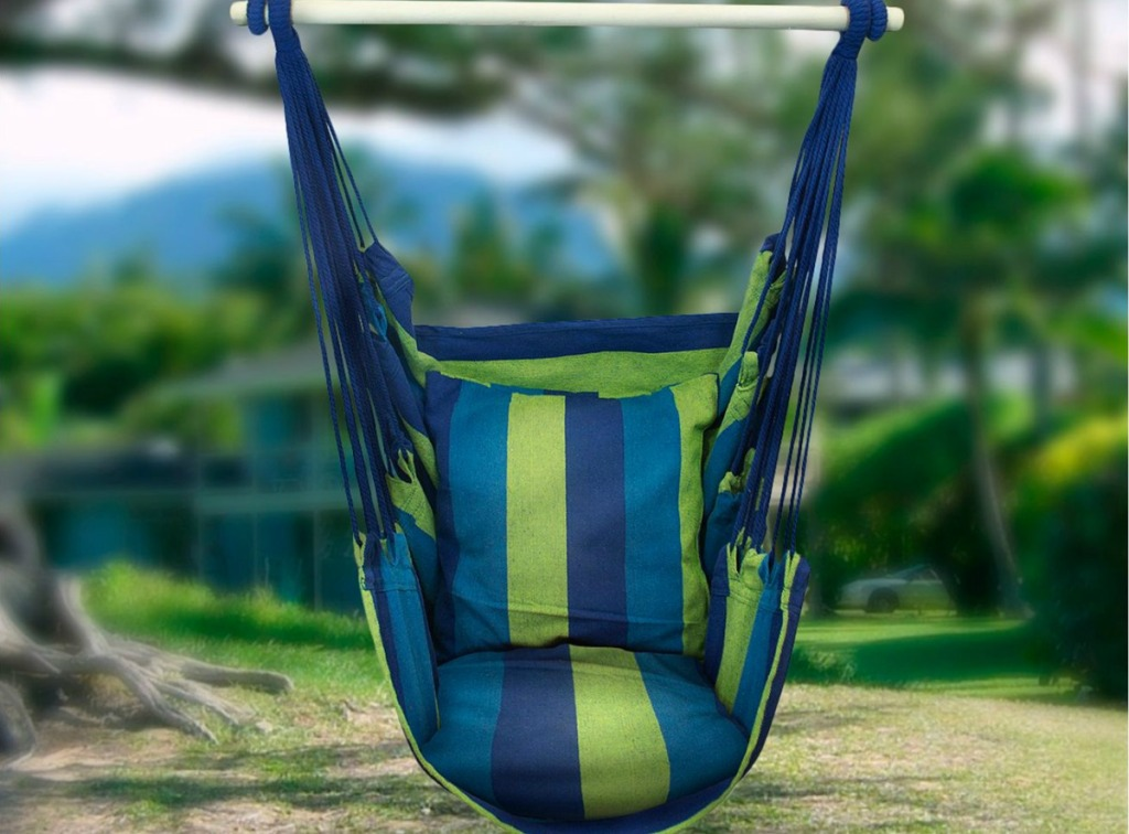 blue and green Sorbus Hanging Rope Hammock Chair Swing hung outside