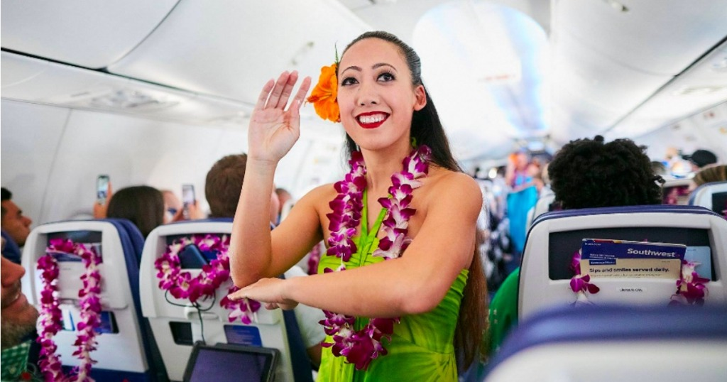 Flight Attendant in Hawaiian Attire on Southwest Airlines flight